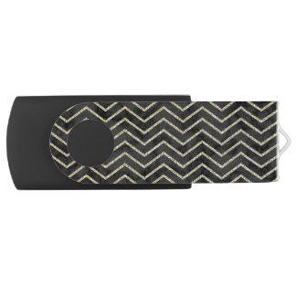 Elegant Black Marble with Gold Chevron USB Flash Drive