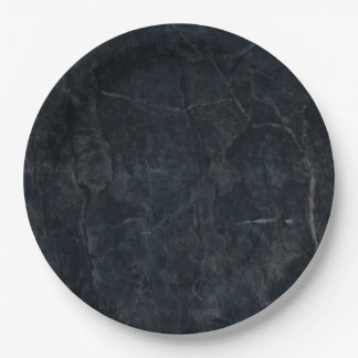 Elegant Black Marbled Stone Texture Paper Plate