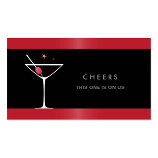 Elegant black martini cocktail glass drink voucher business card templates
