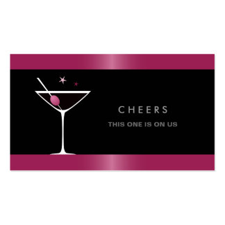 Elegant black martini cocktail glass drink voucher business card template