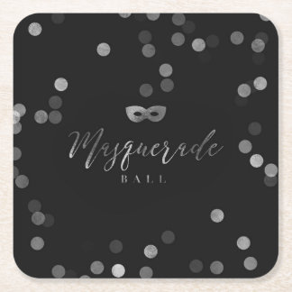 Elegant Black Masquerade Ball Party Coasters