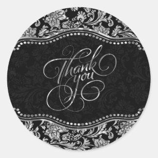 Elegant Black & Metallic Silver Damasks Thank You Classic Round Sticker