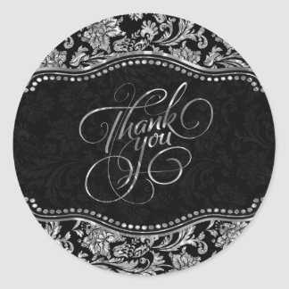 Elegant Black & Metallic Silver Damasks Thank You Round Sticker