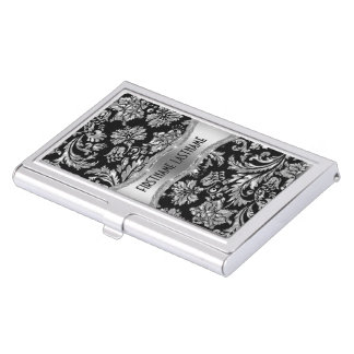 Elegant Black & Metallic Silver Vintage Damasks Business Card Holder