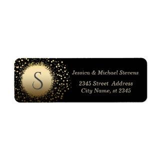 Elegant black modern faux gold confetti wedding