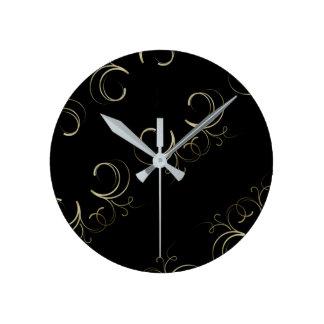Elegant, Black, Modern Round Clock