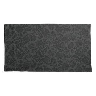 Elegant Black Monochromatic Floral Damasks Pillowcase