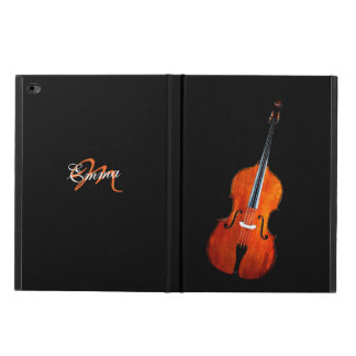 Elegant Black Monogram Cello Music iPad Case