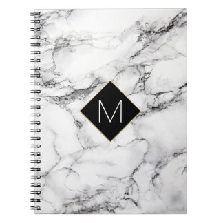 elegant black monogram on white marble texture notebooks
