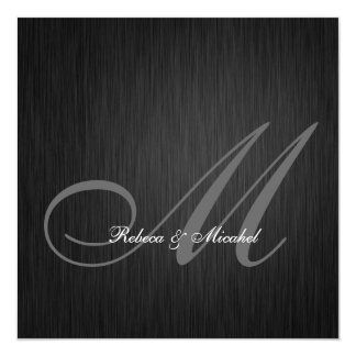 "Elegant Black Monogram Wedding Invitation 5.25"" Square Invitation Card"