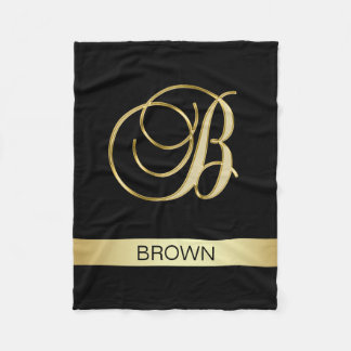 Elegant Black Monogrammed Initials 'B' with Name Fleece Blanket
