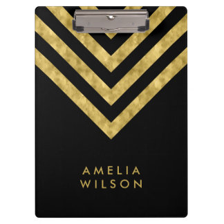 Elegant Black Name Faux Gold Chevron Clipboard