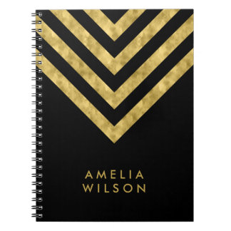 Elegant Black Name Faux Gold Chevron Pattern Notebook