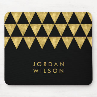 Elegant Black Name Faux Gold Triangle Pattern Mouse Pad