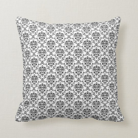 Elegant Black on White Damask Throw Pillow