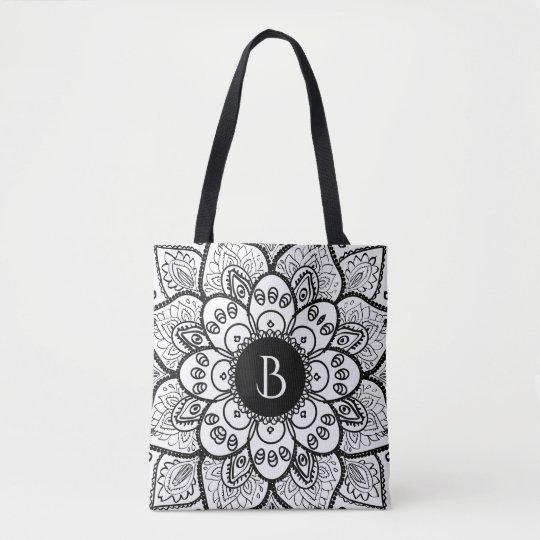 Elegant Black On White Floral Mandala Tote Bag