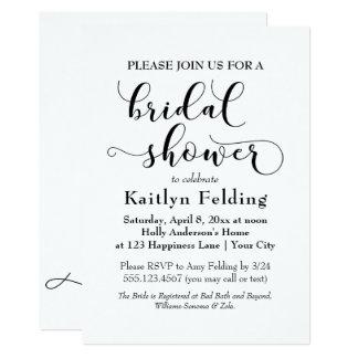 Elegant Black on White Typography Bridal Shower b Card