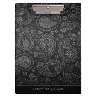 Elegant black paisley personalized clipbo clipboard