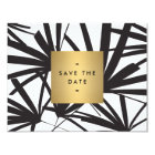 Elegant Black Palm Fronds Save the Date Card