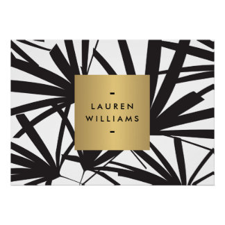 Elegant Black Palm Fronds with Gold Nameplate Logo Poster
