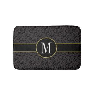 Elegant Black Panther Jaguar Classy Gold Monogram Bath Mat