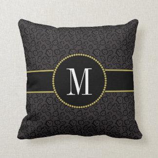 Elegant Black Panther Jaguar Gray Gold Monogram Throw Pillow
