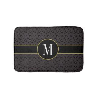 Elegant Black Panther Leopard Classy Gold Monogram Bath Mat