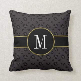 Elegant Black Panther Leopard Gray Gold Monogram Throw Pillow