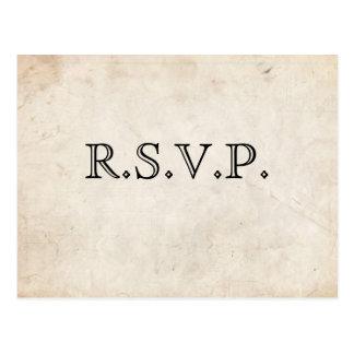 Elegant Black Parchment RSVP Card Postcard