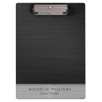 Elegant black perforated metal personalized clipboard