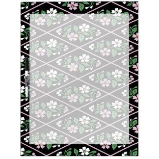 Elegant Black Pink and White Floral Pattern Dry Erase White Board