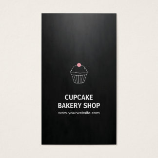 Elegant Black Pink Cupcake Sweet Bakery Shop Business Card