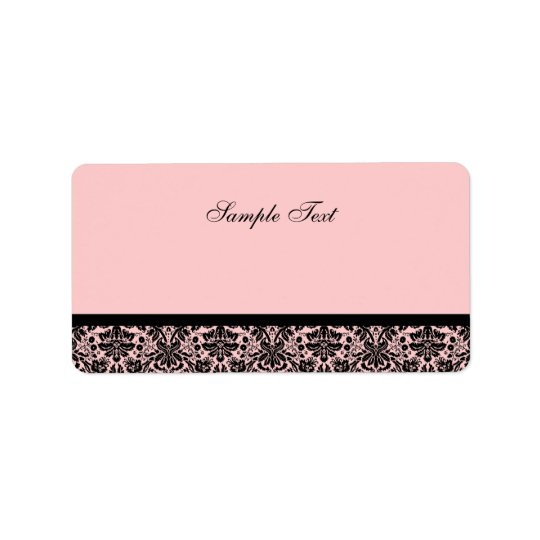 Elegant Black & Pink Damask Colour Select Label