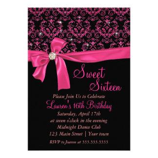 Elegant Black Pink Damask Sweet Sixteen Party Invite