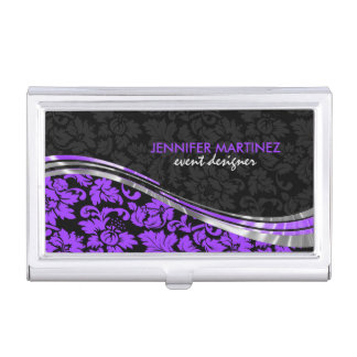 Elegant Black & Purple Damasks With Silver Accents Business Card Holder