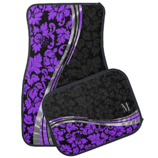 Elegant Black & Purple Damasks With Silver Accents Floor Mat