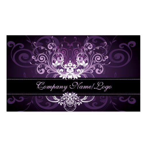 Elegant Black Purple & White Tones Vintage Frame 2 Business Card Templates