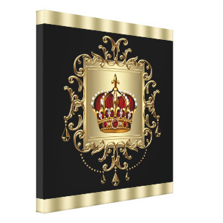 Elegant Black Red and Gold Crown Canvas Wall Art