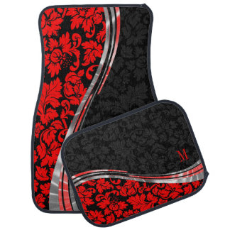 Elegant Black & Red Damasks With Silver Accents Car Mat