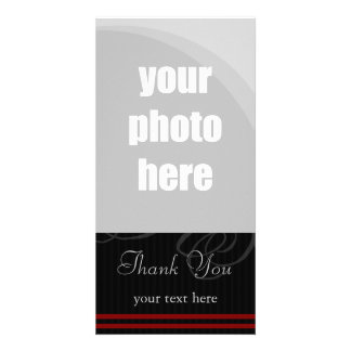 "Elegant Black/Red ""Thank You"" Photo Cards"