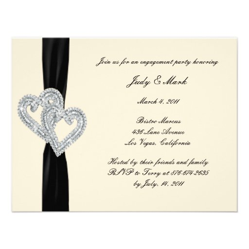 Elegant Black Ribbon Engagement Party Invitation