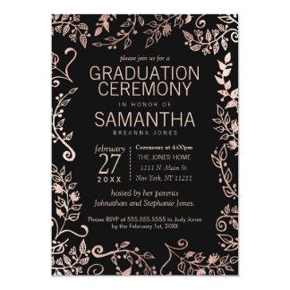 Elegant Black Rose Gold Floral Graduation Card
