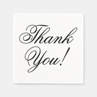 Elegant Black Script Thank You for Wedding Paper Napkin