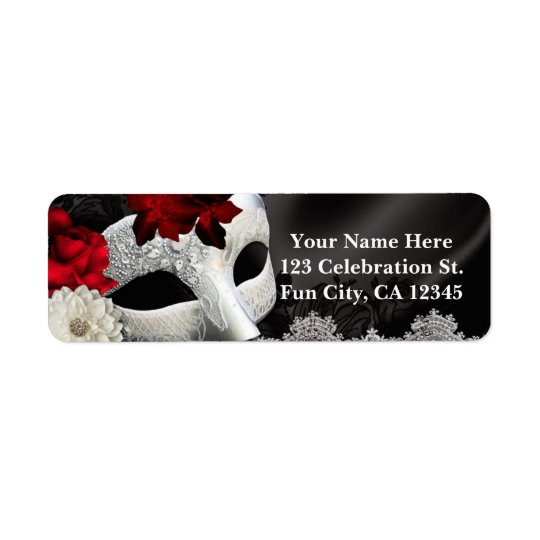 Elegant Black Silk Floral & Lace Masquerade Party Return Address Label
