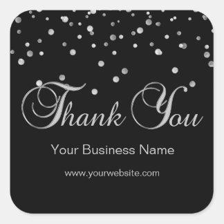 Elegant Black Silver Business Thank You Labels