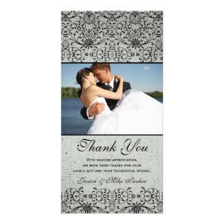 Elegant black silver damask wedding thank you customized photo card