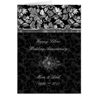 Elegant Black & Silver Damasks Card