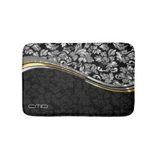 Elegant Black & Silver Damasks Gold Accents Bath Mat
