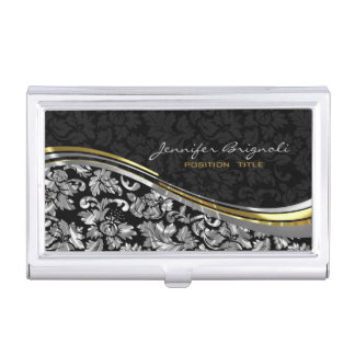 Elegant Black & Silver Damasks Gold Accents Business Card Holder