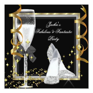 "Elegant Black Silver Gold Women's Birthday Party 5.25"" Square Invitation Card"